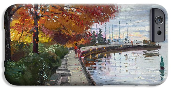 Toronto Paintings iPhone Cases - Fall in Port Credit ON iPhone Case by Ylli Haruni