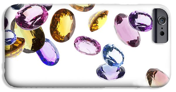 Wealth iPhone Cases - Falling Gems iPhone Case by Setsiri Silapasuwanchai