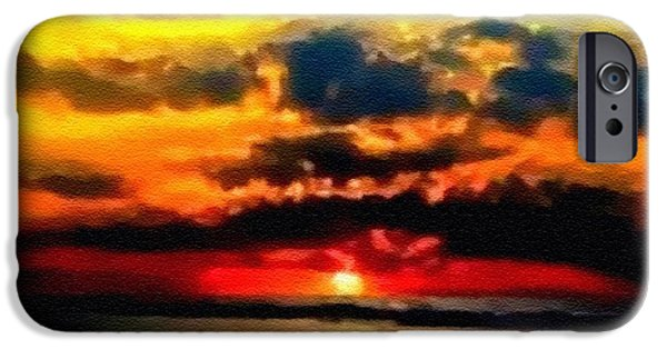Abstract Digital Pastels iPhone Cases - Fantasy Sunset H B iPhone Case by Gert J Rheeders