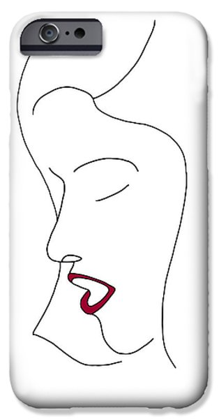 Beautiful Drawings iPhone Cases - Fashion sketch iPhone Case by Frank Tschakert