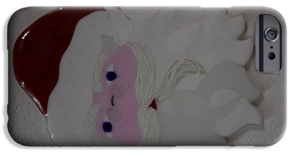 Christmas Glass Art iPhone Cases - Father Christmas iPhone Case by Rosalind Duffy