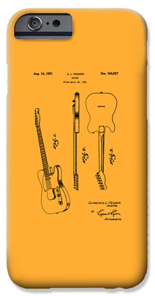 Stratocaster Drawings iPhone Cases - Fender 1951 Electric Guitar Patent Art - B  iPhone Case by Barry Jones