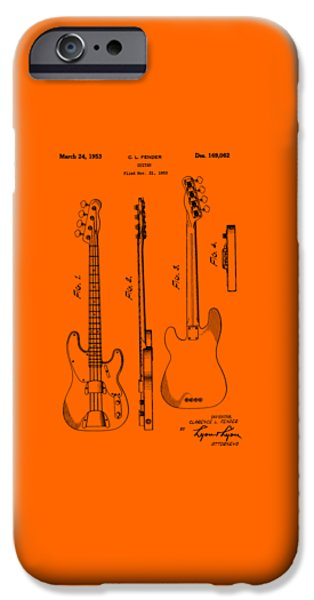 Stratocaster Drawings iPhone Cases - Fender Bass Guitar Patent-1953 iPhone Case by Barry Jones
