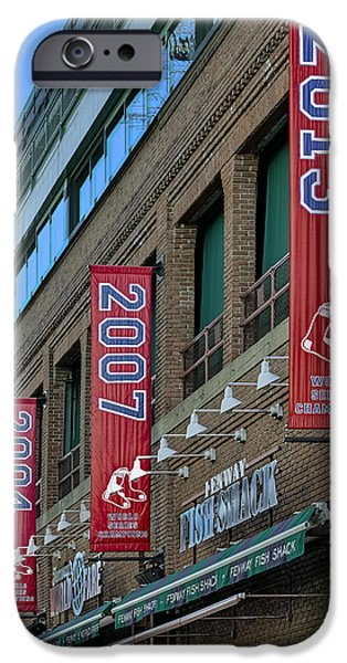 Red Sox iPhone Cases - Fenway Boston Red Sox Champions Banners iPhone Case by Susan Candelario