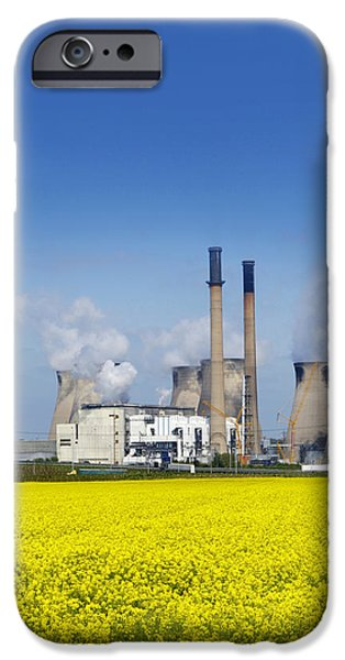 Energy Industry iPhone Cases - Ferrybridge Power Station And Rape Field iPhone Case by Mark Sykes