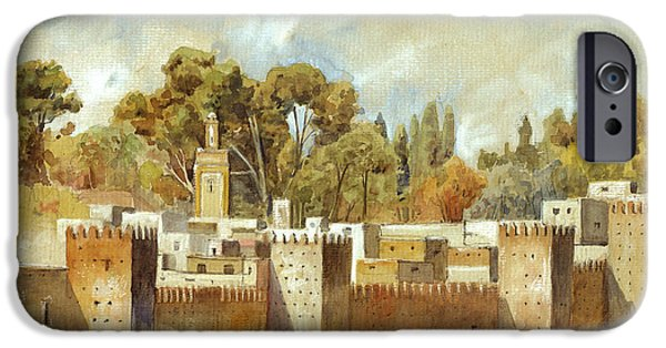 Orientalists iPhone Cases - Fes Morocco orientalist painting iPhone Case by Juan  Bosco