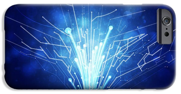 Abstract Digital Art iPhone Cases - Fiber Optics And Circuit Board iPhone Case by Setsiri Silapasuwanchai