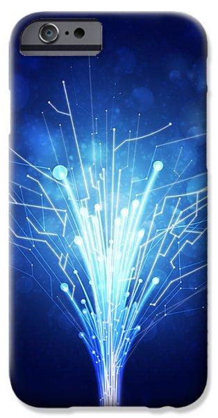 fiber optics and circuit board iPhone Case by Setsiri Silapasuwanchai