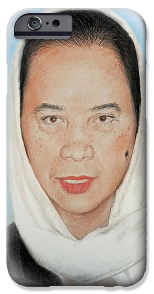 Beauty Mark iPhone Cases - Filipina Woman Wearing a Scarf iPhone Case by Jim Fitzpatrick