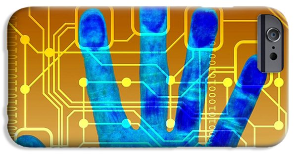 Printed Circuit Board iPhone Cases - Fingerprint Scanner, Artwork iPhone Case by Pasieka