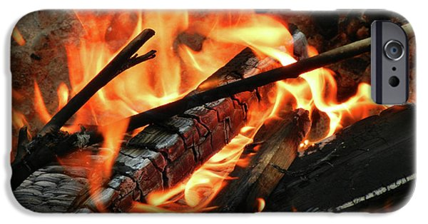 Fourth Of July iPhone Cases - Fire at the Beach III iPhone Case by Mariola Bitner