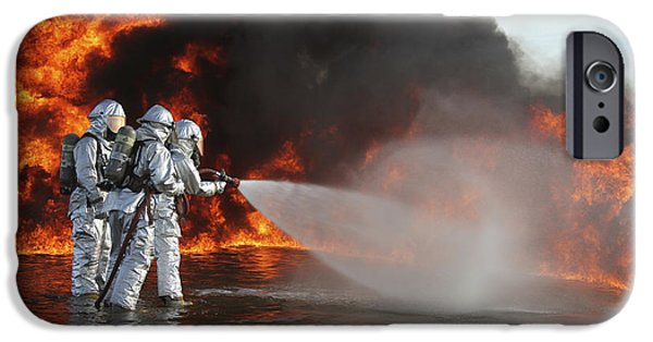 Inferno iPhone Cases - Firefighting Marines Battle A Huge iPhone Case by Stocktrek Images