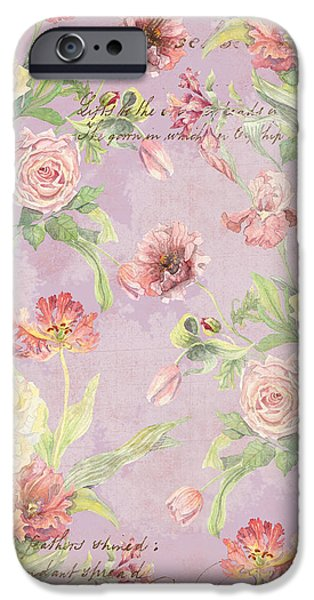 Peonies iPhone Cases - Fleurs de Pivoine - Watercolor in a French Vintage Wallpaper Style iPhone Case by Audrey Jeanne Roberts