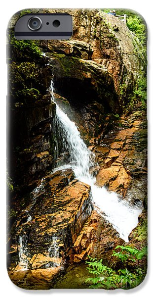 Ledge iPhone Cases - Flume Gorge Waterfall iPhone Case by Sherman Perry