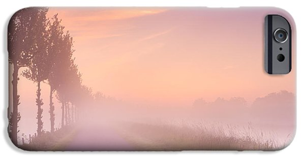 Fog Mist iPhone Cases - Foggy sunrise in typical polder landscape in The Netherlands iPhone Case by Sara Winter