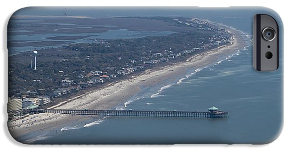 Lighthouse iPhone Cases - Folly Beach South Carolina Aerial iPhone Case by Dustin K Ryan