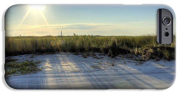 Morning iPhone Cases - Folly Beach Sunrise over Morris Island iPhone Case by Dustin K Ryan
