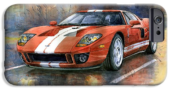 Cars iPhone Cases - Ford GT 40 2006  iPhone Case by Yuriy  Shevchuk
