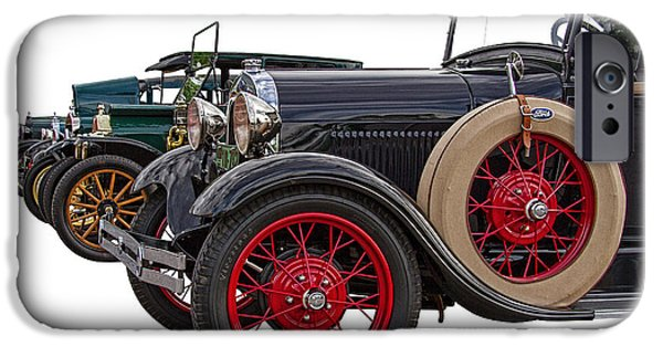Old Cars iPhone Cases - Ford Model A and T iPhone Case by Nick Gray