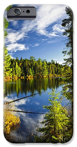 Forest and sky reflecting in lake iPhone Case by Elena Elisseeva
