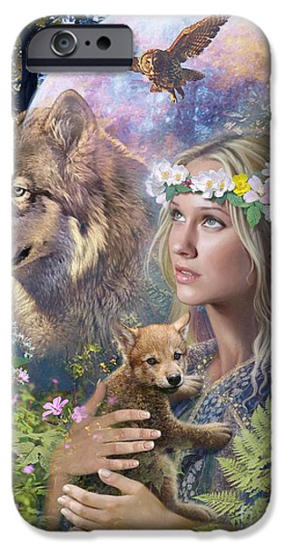 Wolf Digital Art iPhone Cases - Forest Friends iPhone Case by Steve Read