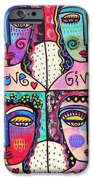 Four Gemstone Angels  iPhone Case by Sandra Silberzweig