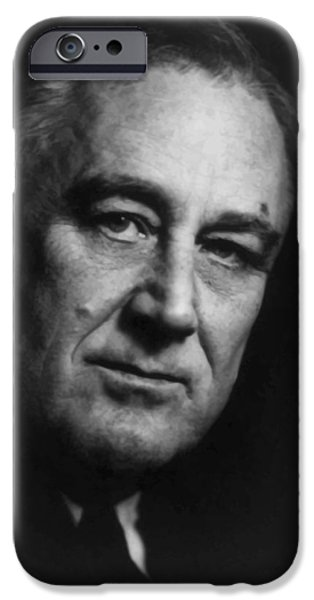 White House Paintings iPhone Cases - Franklin Roosevelt iPhone Case by War Is Hell Store