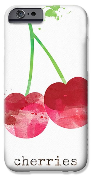Healthy Mixed Media iPhone Cases - Fresh Cherries iPhone Case by Linda Woods