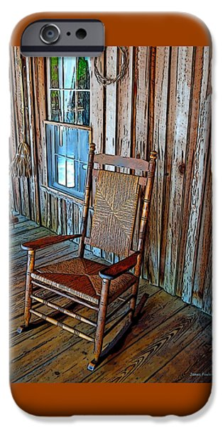Cabin Window iPhone Cases - Front Porch Rocker iPhone Case by James Fowler