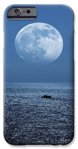 Sea Moon Full Moon Photographs iPhone Cases - Full Moon Rising Over The Sea iPhone Case by Detlev van Ravenswaay