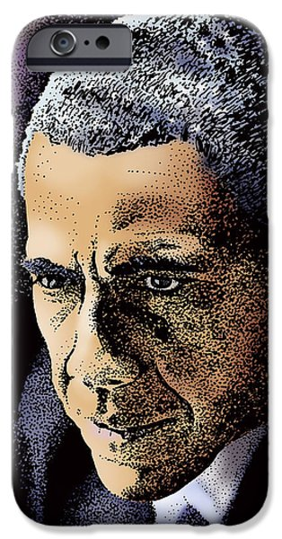 President Obama Drawings iPhone Cases - Fundamental Change iPhone Case by Joseph Juvenal