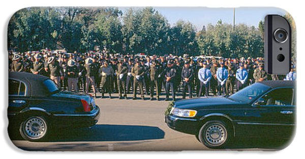 Law Enforcement iPhone Cases - Funeral Service For Police Officer iPhone Case by Panoramic Images