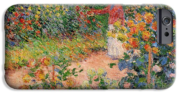 Home Paintings iPhone Cases - Garden at Giverny iPhone Case by Claude Monet