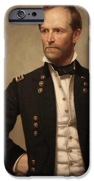 United Paintings iPhone Cases - General William Tecumseh Sherman iPhone Case by War Is Hell Store