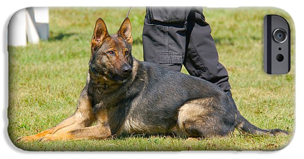 Police iPhone Cases - German Shepherd K9 iPhone Case by Paul O