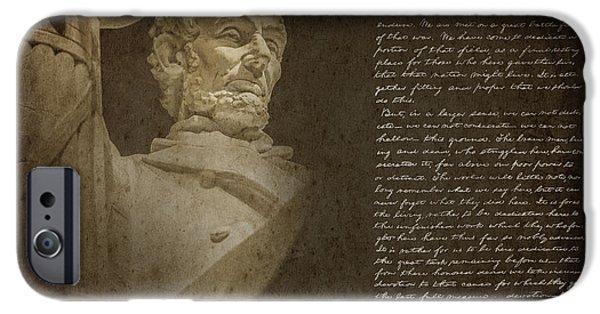 President iPhone Cases - Gettysburg Address iPhone Case by Diane Diederich
