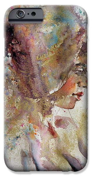 Young Paintings iPhone Cases - Girl in gold iPhone Case by Kovacs Anna Brigitta