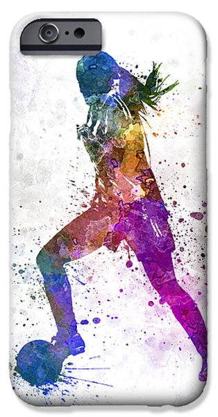 Juggling iPhone Cases - Girl playing soccer football player silhouette iPhone Case by Pablo Romero