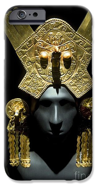 Serpent iPhone Cases - Gold Headdress, Chimu Imperial iPhone Case by Tony Camacho