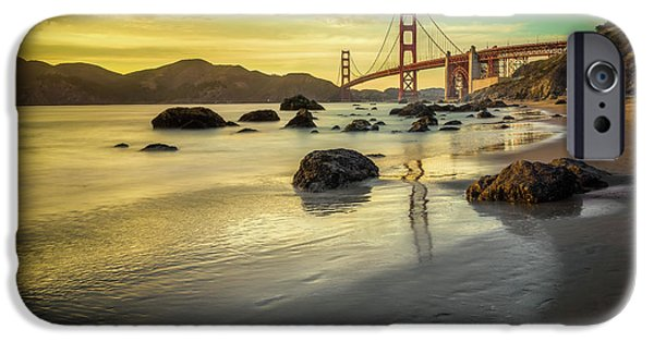Headland iPhone Cases - Golden Gate Sunset iPhone Case by James Udall
