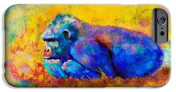 Mammals Digital iPhone Cases - Gorilla Gorilla iPhone Case by Betty LaRue