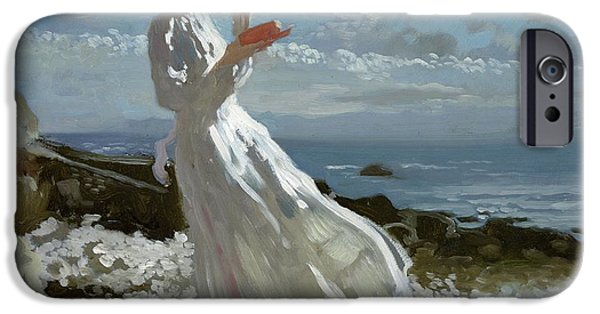 Beach Landscape iPhone Cases - Grace reading at Howth Bay iPhone Case by Sir William Orpen