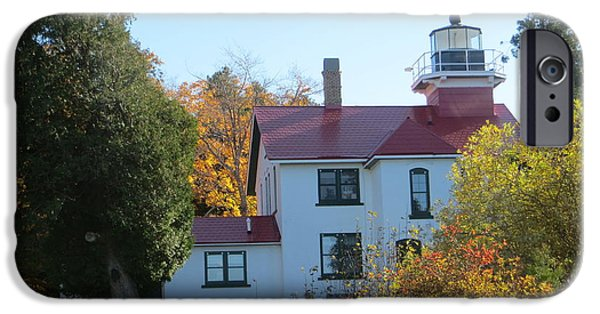 Historic Site iPhone Cases - Grand Traverse Lighthouse 2 iPhone Case by Cindy Kellogg