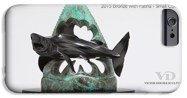 Sharks Sculptures iPhone Cases - Great White Tooth iPhone Case by Victor Douieb