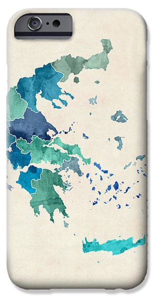 Greek iPhone Cases - Greece Watercolor Map iPhone Case by Michael Tompsett