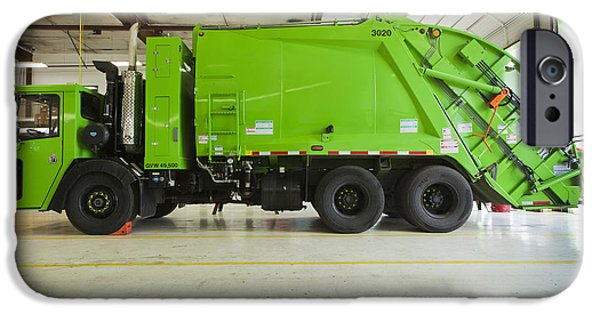 Work Tool iPhone Cases - Green Garbage Truck Maintenance iPhone Case by Don Mason