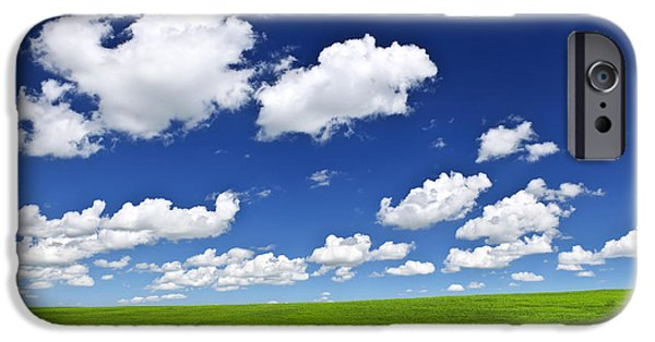 Field. Cloud iPhone Cases - Green rolling hills under blue sky iPhone Case by Elena Elisseeva