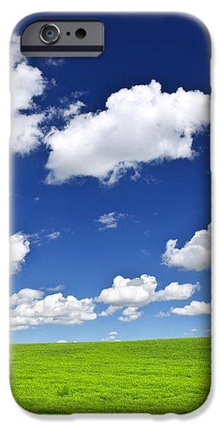 Green rolling hills under blue sky iPhone Case by Elena Elisseeva