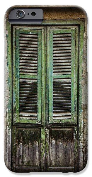 Creepy iPhone Cases - Green window shutters iPhone Case by Maria Heyens