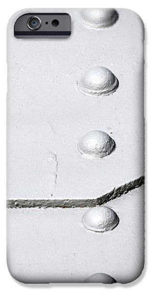 Stainless Steel iPhone Cases - Grey steel rivets iPhone Case by Jozef Jankola